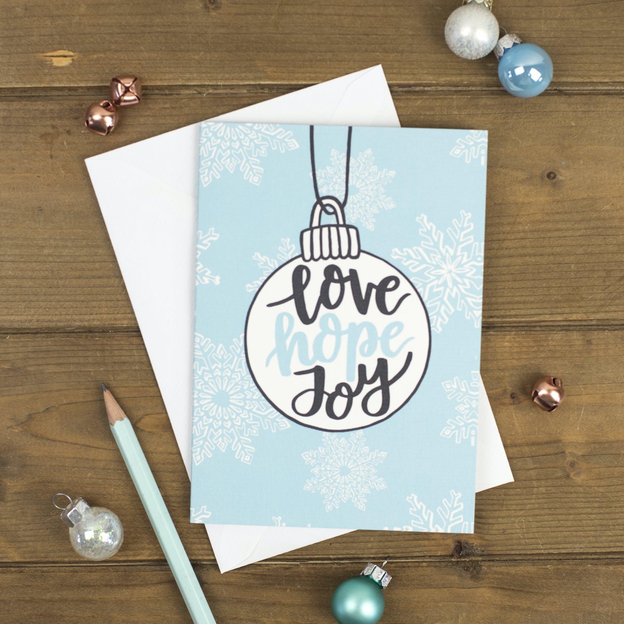 Love Hope Joy Bauble Christmas Card - Izzy and Pop