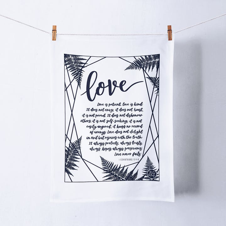Love Is Patient Tea Towel - 1 Corinthians 13 - Izzy and Pop