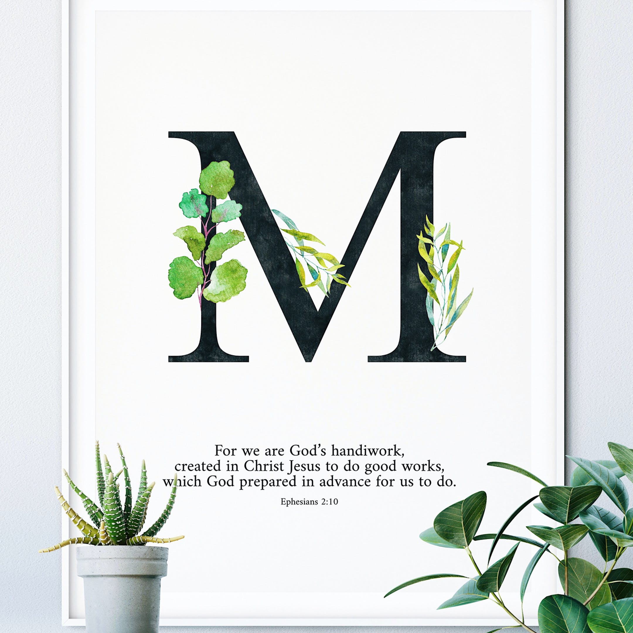 M Personalised Print - Ephesians 2:10 - Izzy & Pop