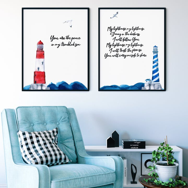 My Lighthouse Christian Prints Set of 2 | Izzy & Pop | Cheerfully Given - Christian Wall Art UK