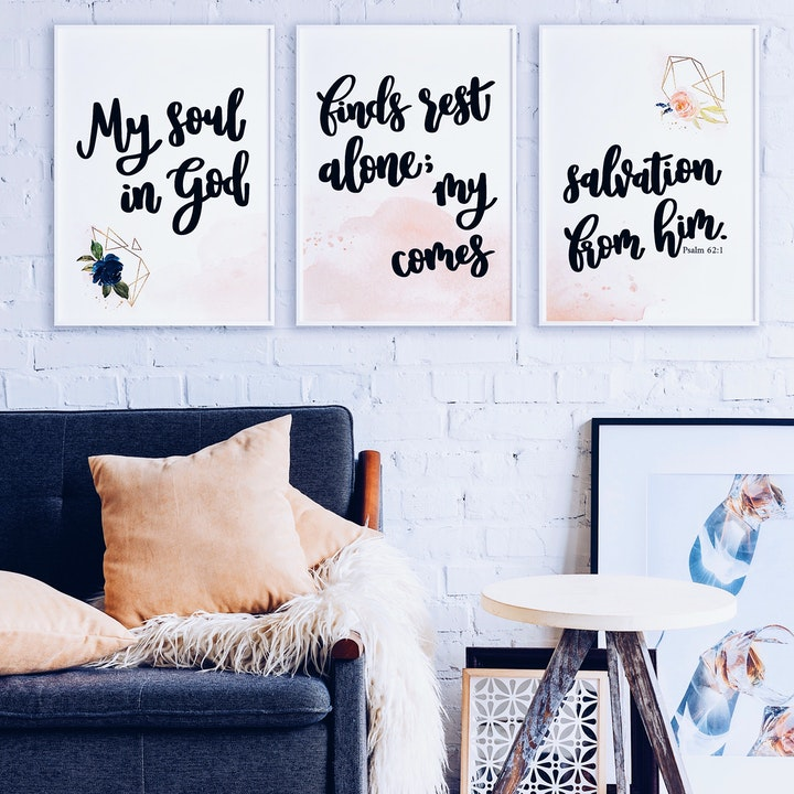 My Soul Finds Rest In God Alone; My Salvation Comes From Him Set of 3 Prints - Psalm 62:1 - Izzy & Pop