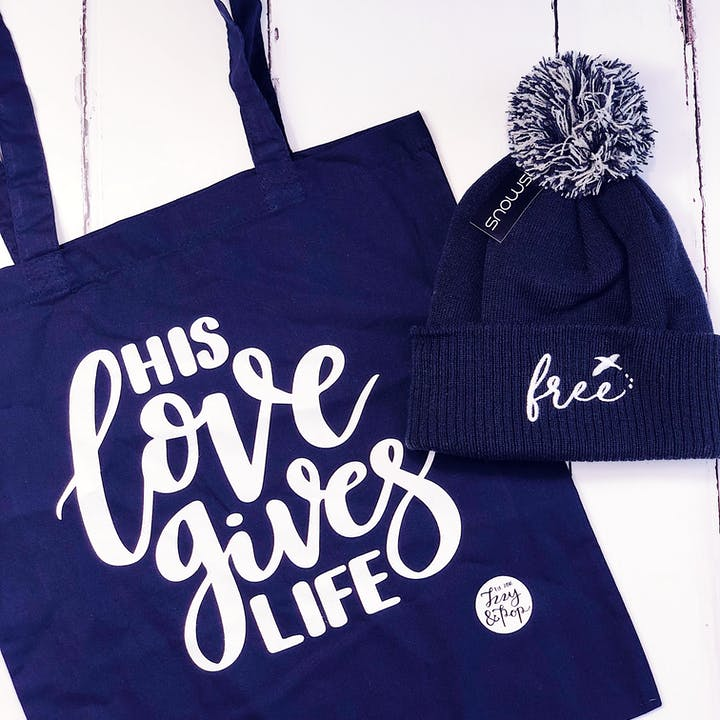 Navy Blue Beanie & Tote Bundle - Izzy and Pop