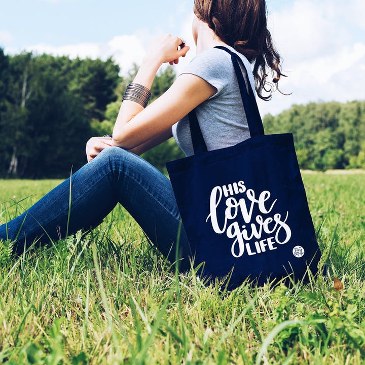 Navy Blue His Love Tote Bag - Izzy and Pop