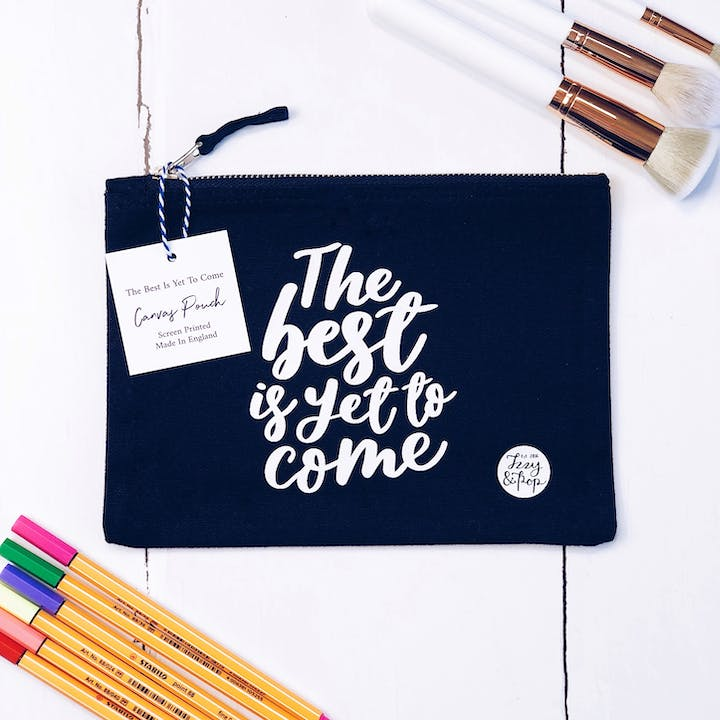 Navy Blue The Best Is Yet To Come Pouch - Izzy and Pop