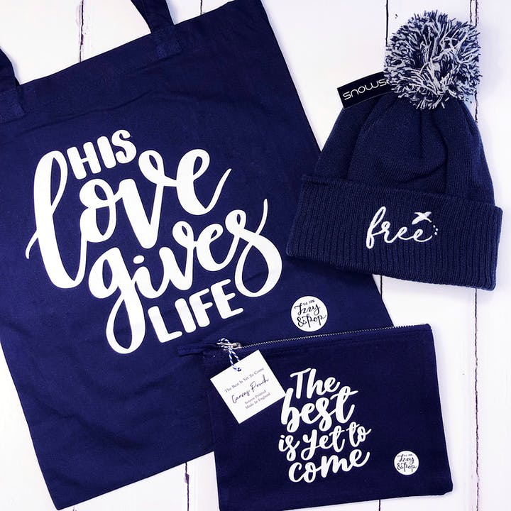 Navy Blue Triple Bundle - His Love Tote Bag, Free Beanie Hat & The Best Is Yet Pouch Bag - Izzy and Pop