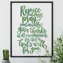 Olive Green - Rejoice Always Print - 1 Thessalonians 5:6-8a - Izzy and Pop