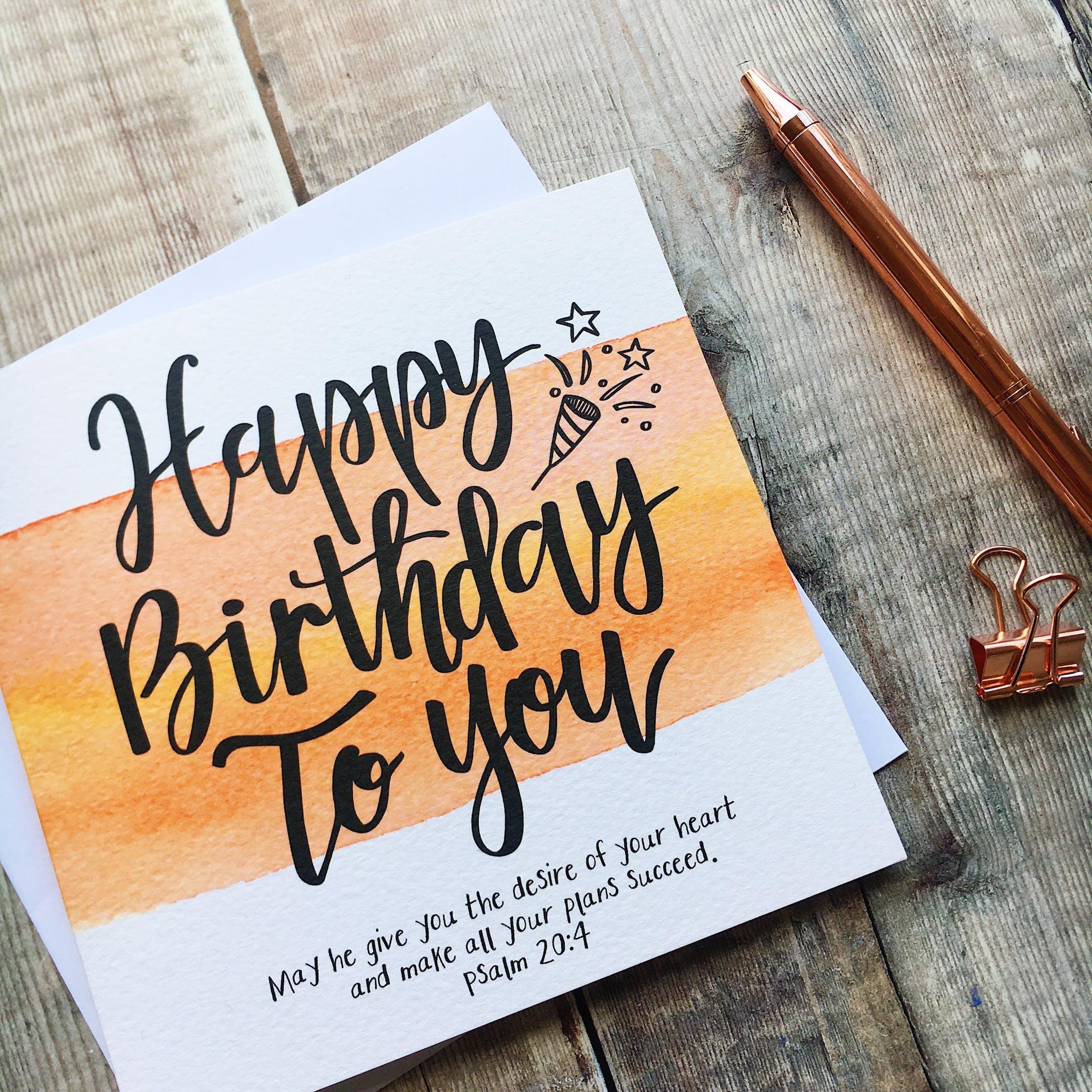 Orange Happy Birthday To You Card - Psalm 20:4 - Izzy and Pop