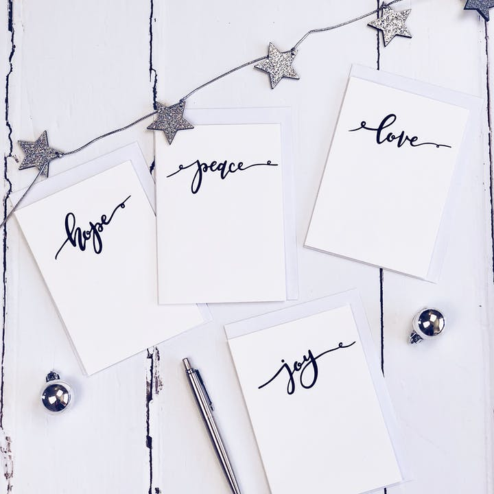 Peace Hope Joy Love Calligraphy Christmas Cards Set of 8 - Izzy and Pop
