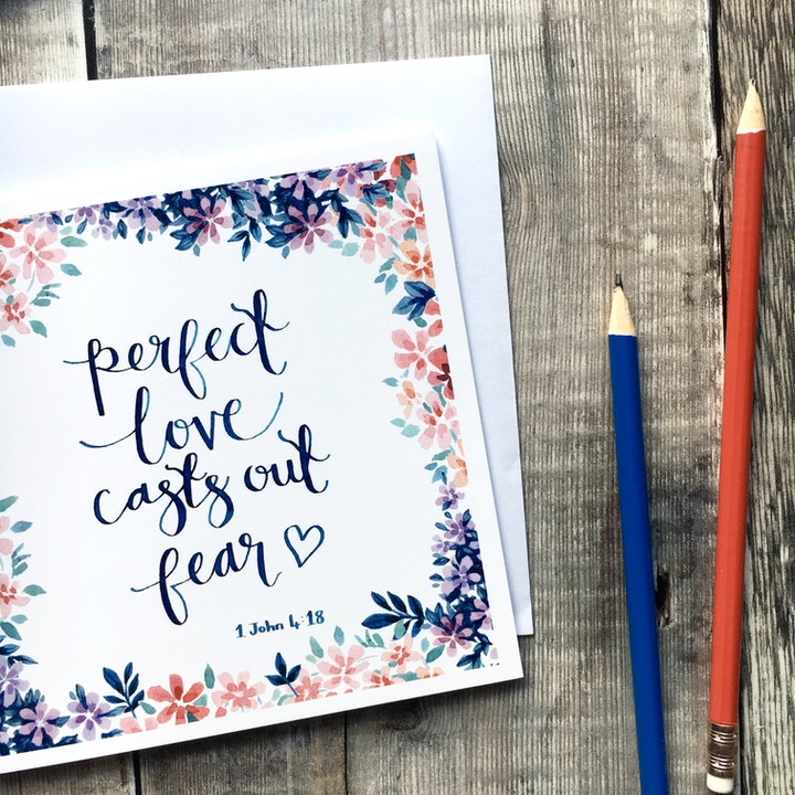 Perfect Love Casts Our Fear Square Card - 1 John 4:18 - Izzy and Pop
