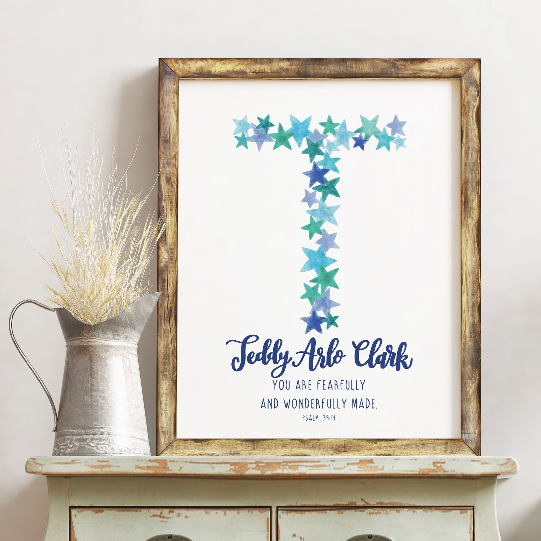 Personalised Baby Boy Name Print - Psalm 139:14 - Izzy and Pop