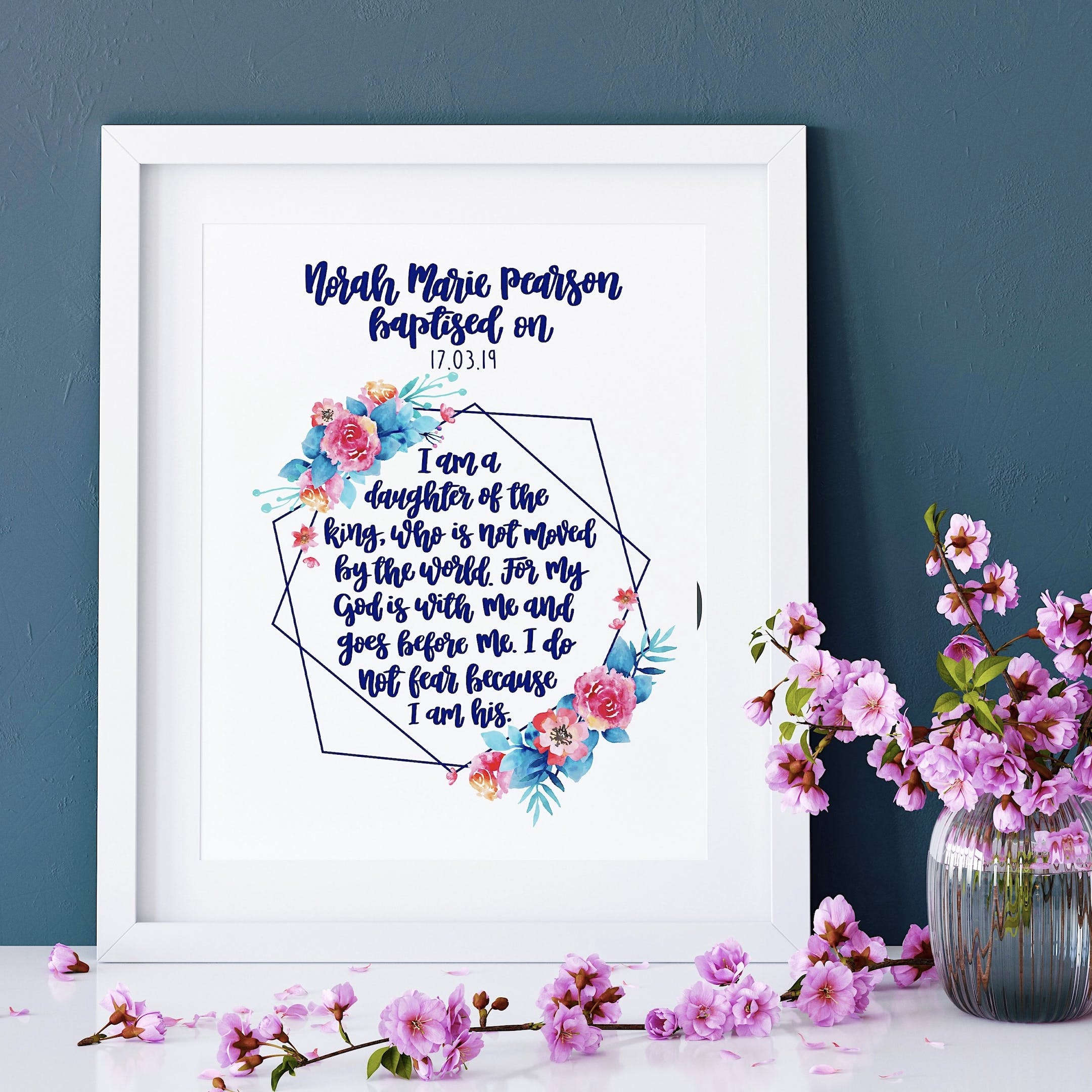 Personalised Baptism Version - I Am A Daughter Of The King Geo Print - Izzy and Pop