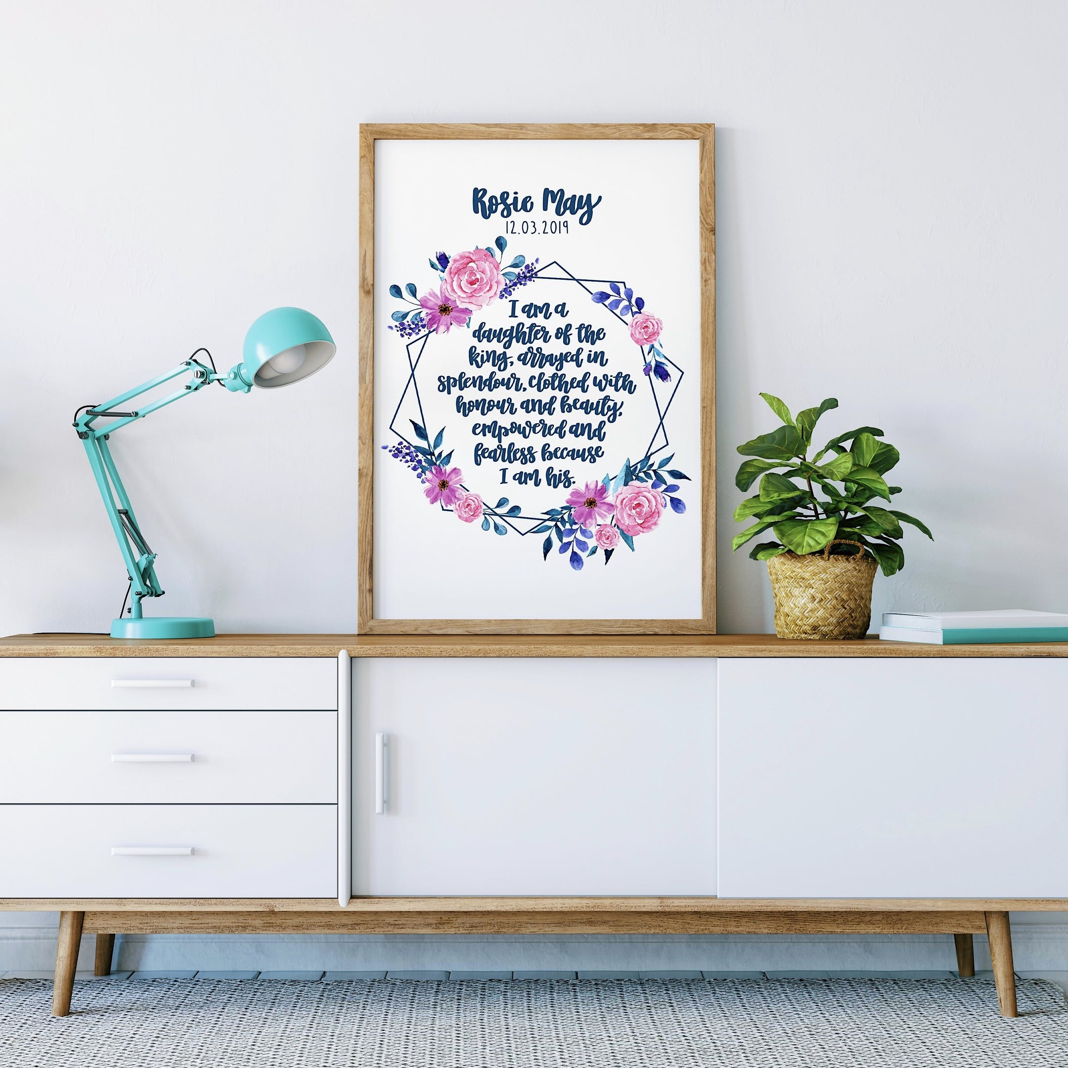 Personalised Print - I Am A Daughter Of The King Floral