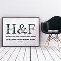 Personalised Wedding Print H&F - Let All That You Do Be Done In Love - 1 Corinthians 16:14 - Izzy & Pop