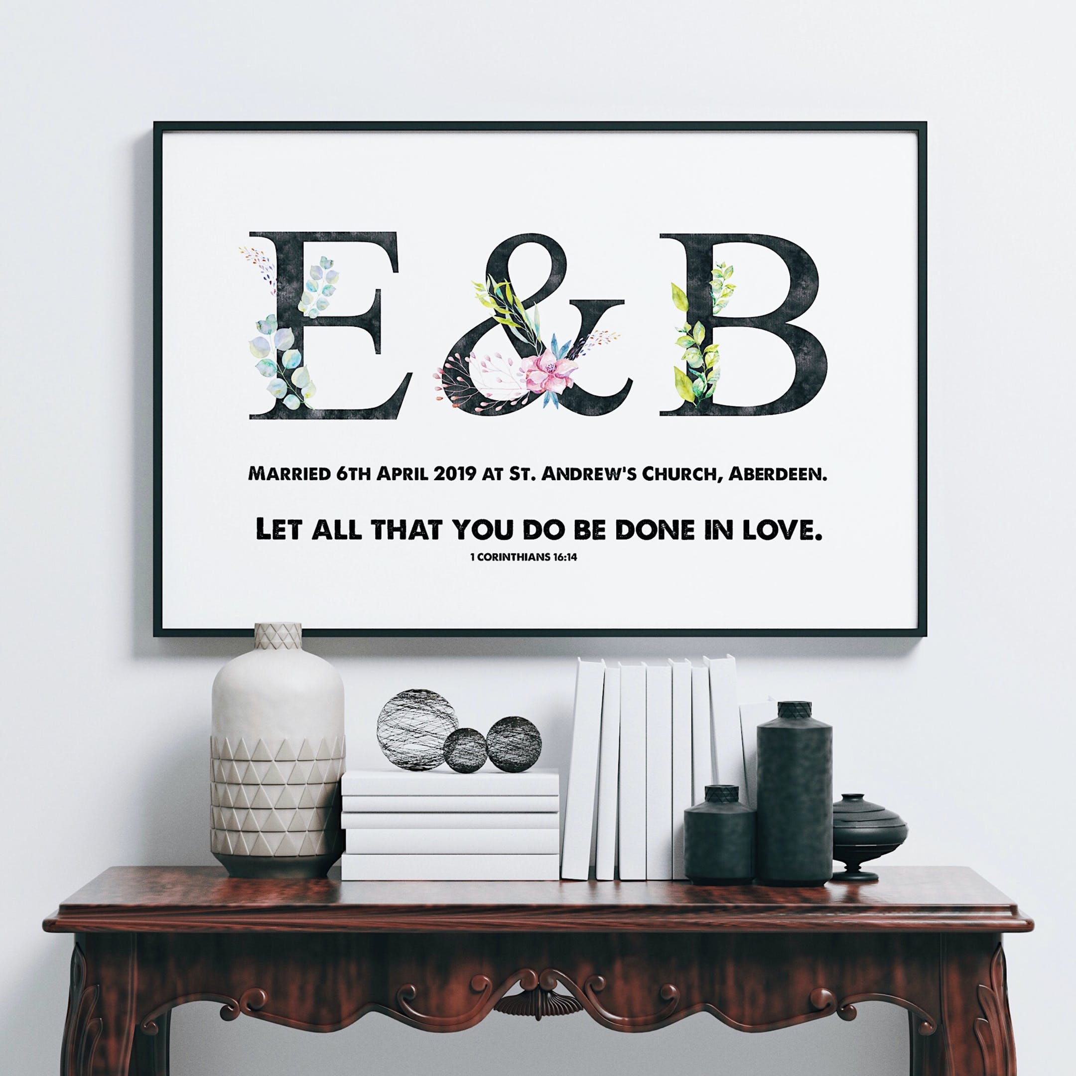 Personalised Wedding Print - Let All That You Do Be Done In Love - 1 Corinthians 16:14 - Izzy & Pop