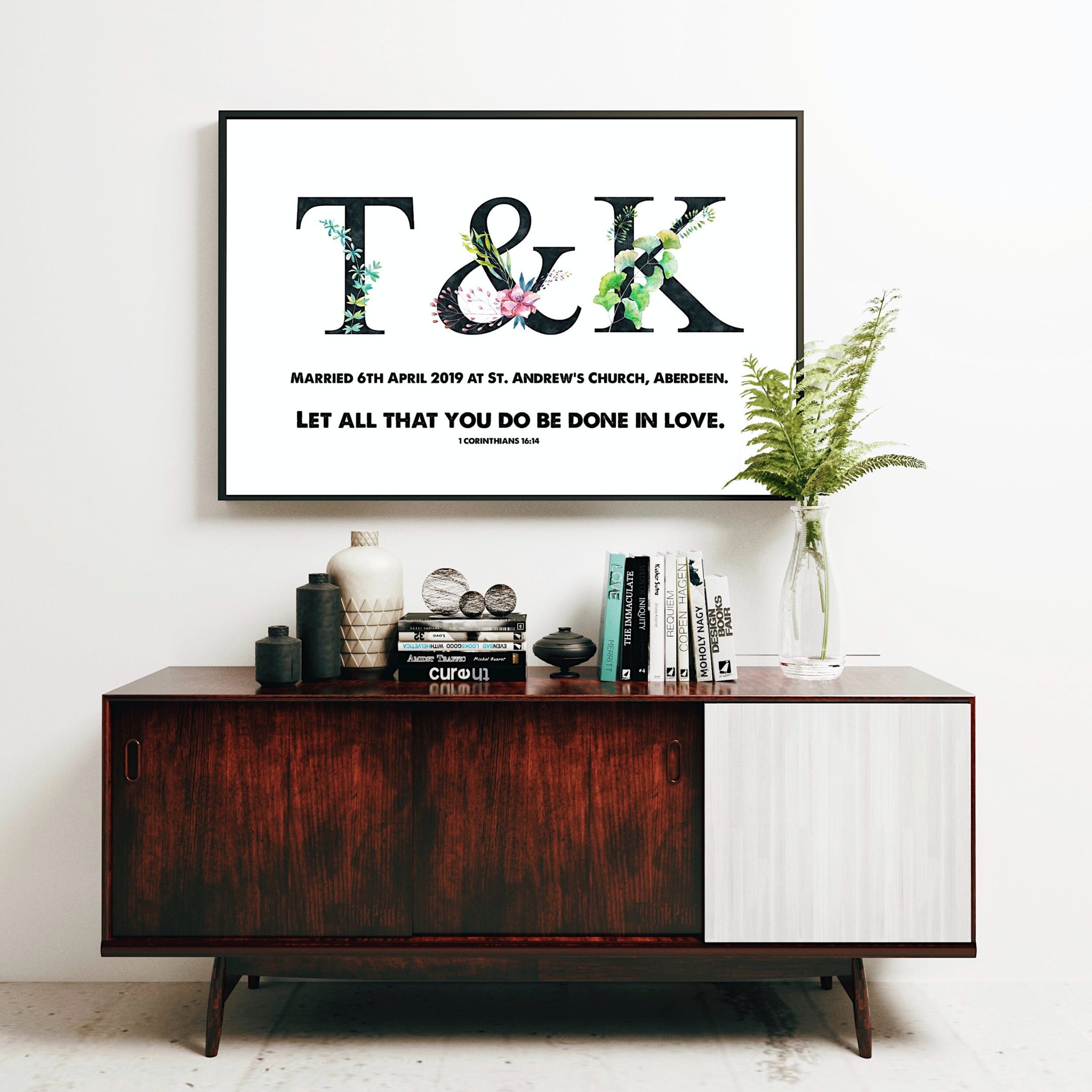 Personalised Wedding Print T&K - Let All That You Do Be Done In Love - 1 Corinthians 16:14 - Izzy & Pop