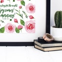 Pink Floral Joy Comes In The Morning Print - Psalm 30:5 - Izzy and Pop