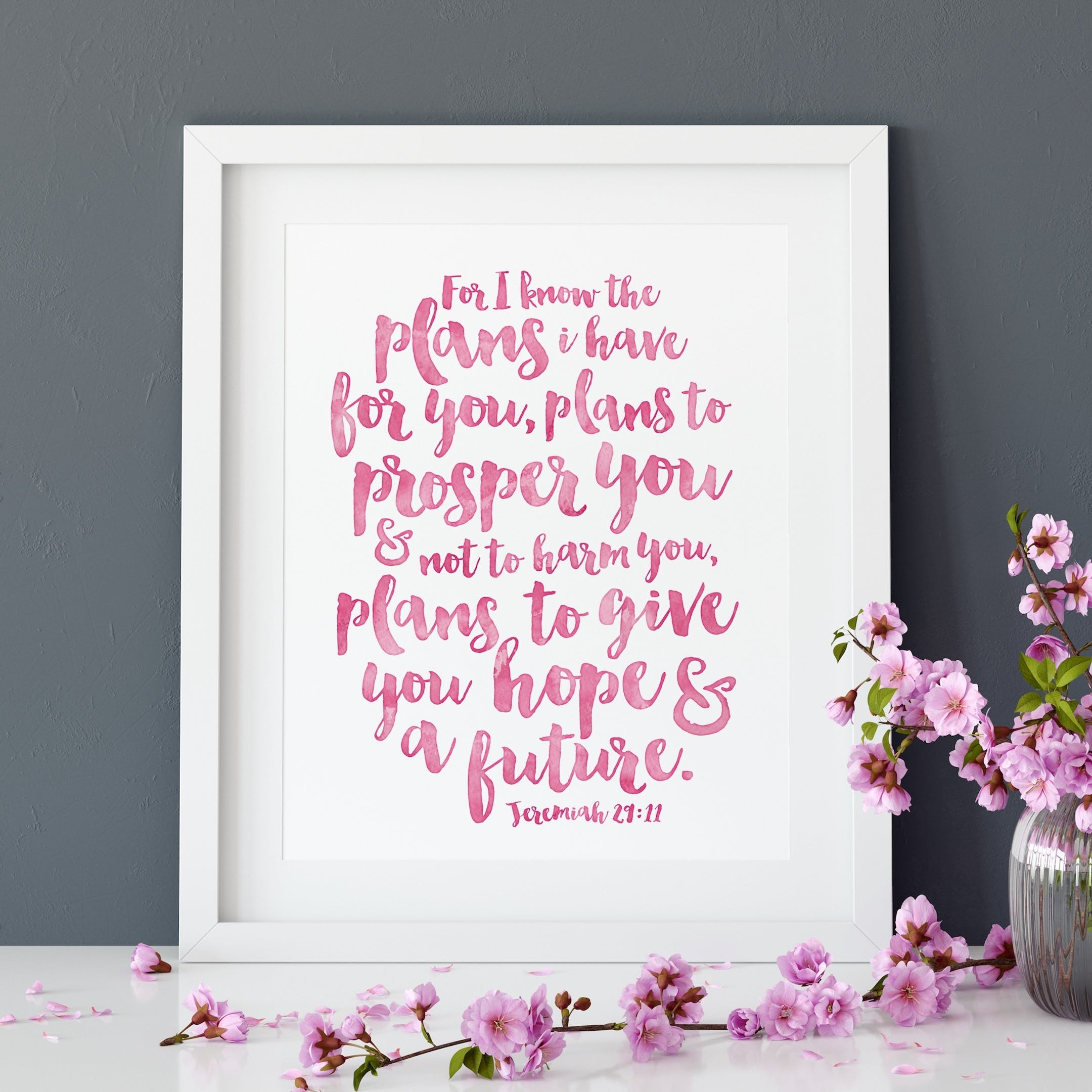 Pink For I Know The Plans I Have For You Print 2 - Jeremiah 29:11 - Izzy and Pop