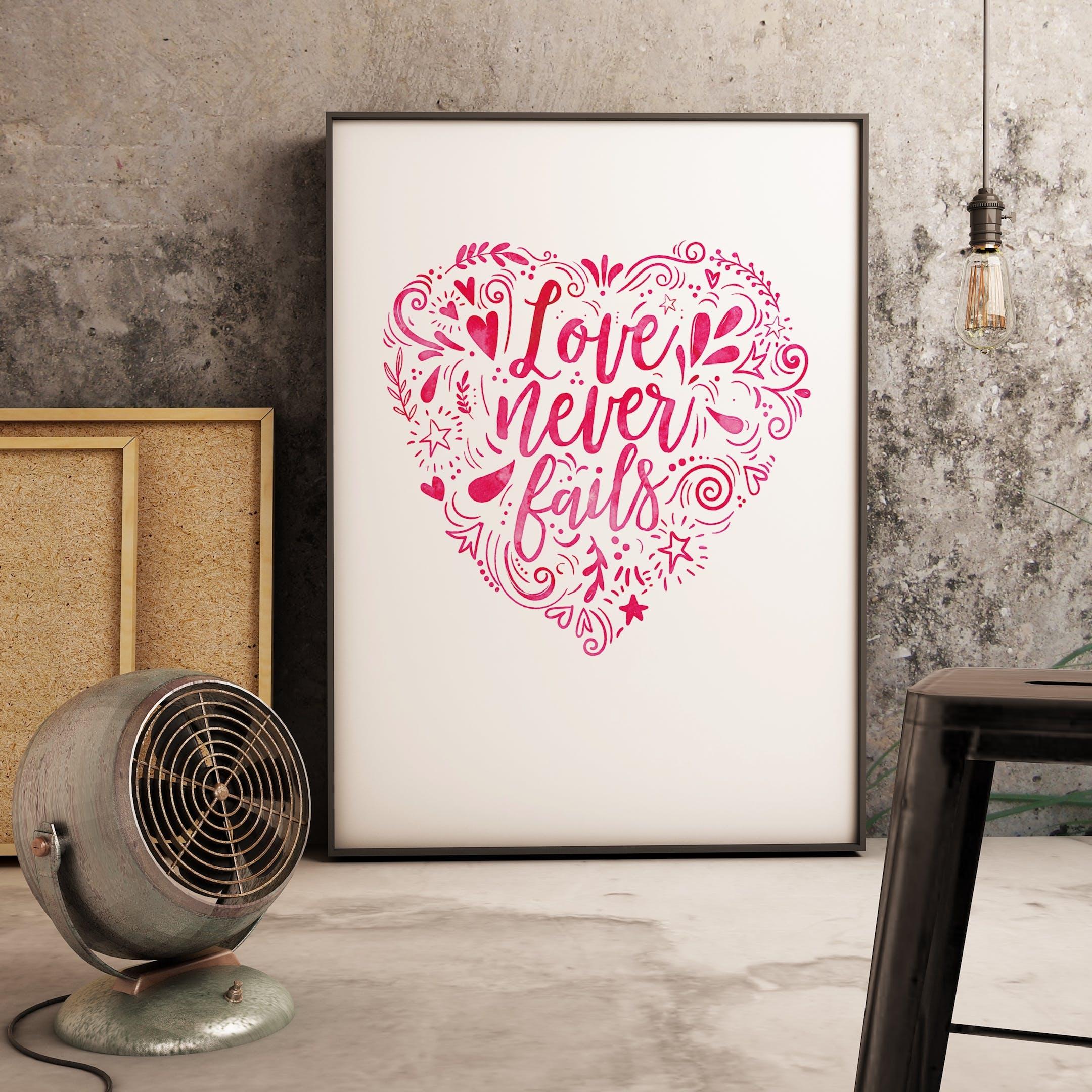 Pink Heart - Love Never Fails Print - 1 Corinthians 13 - Izzy and Pop