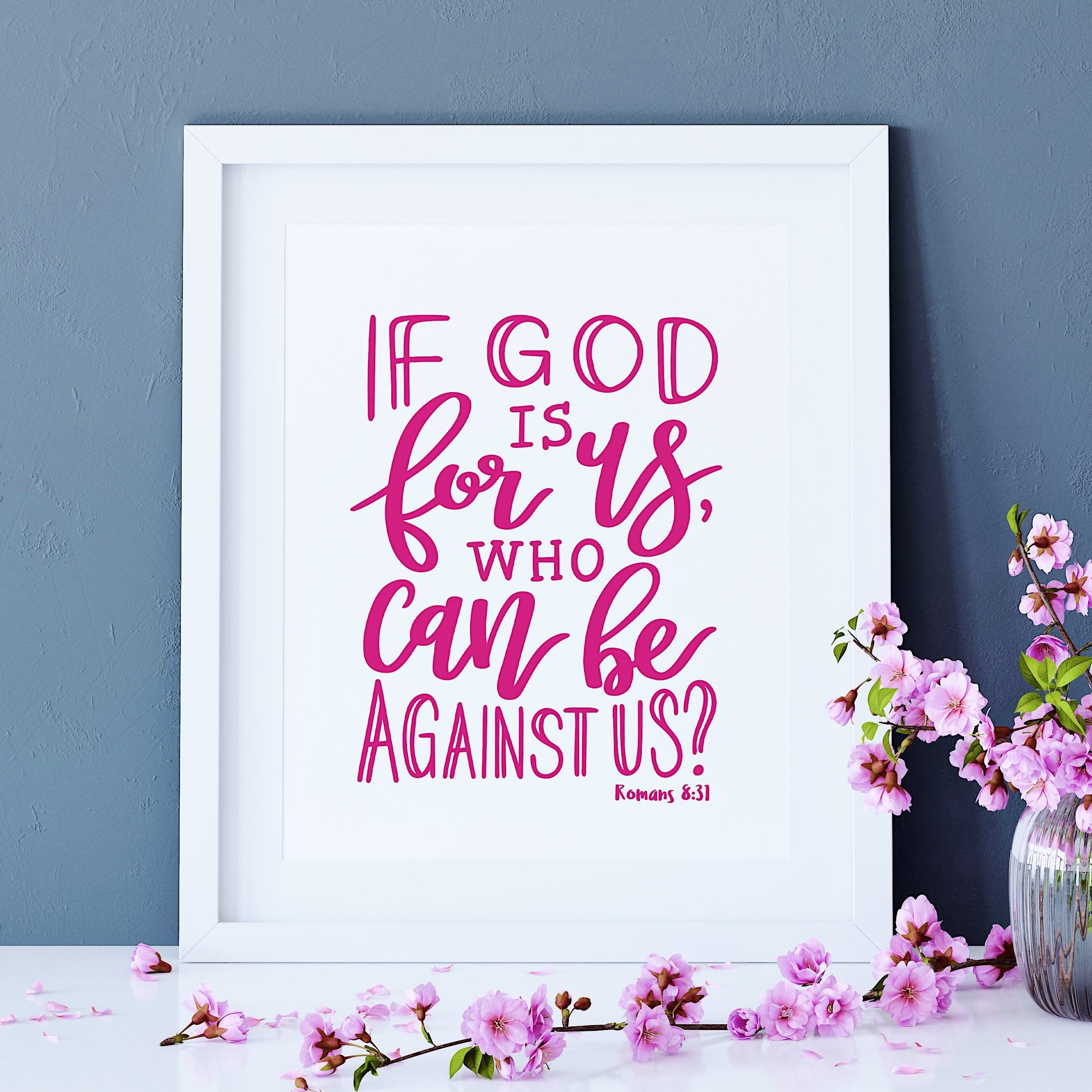 Pink Romans 8:31 Print - If God Is For Us - Izzy and Pop