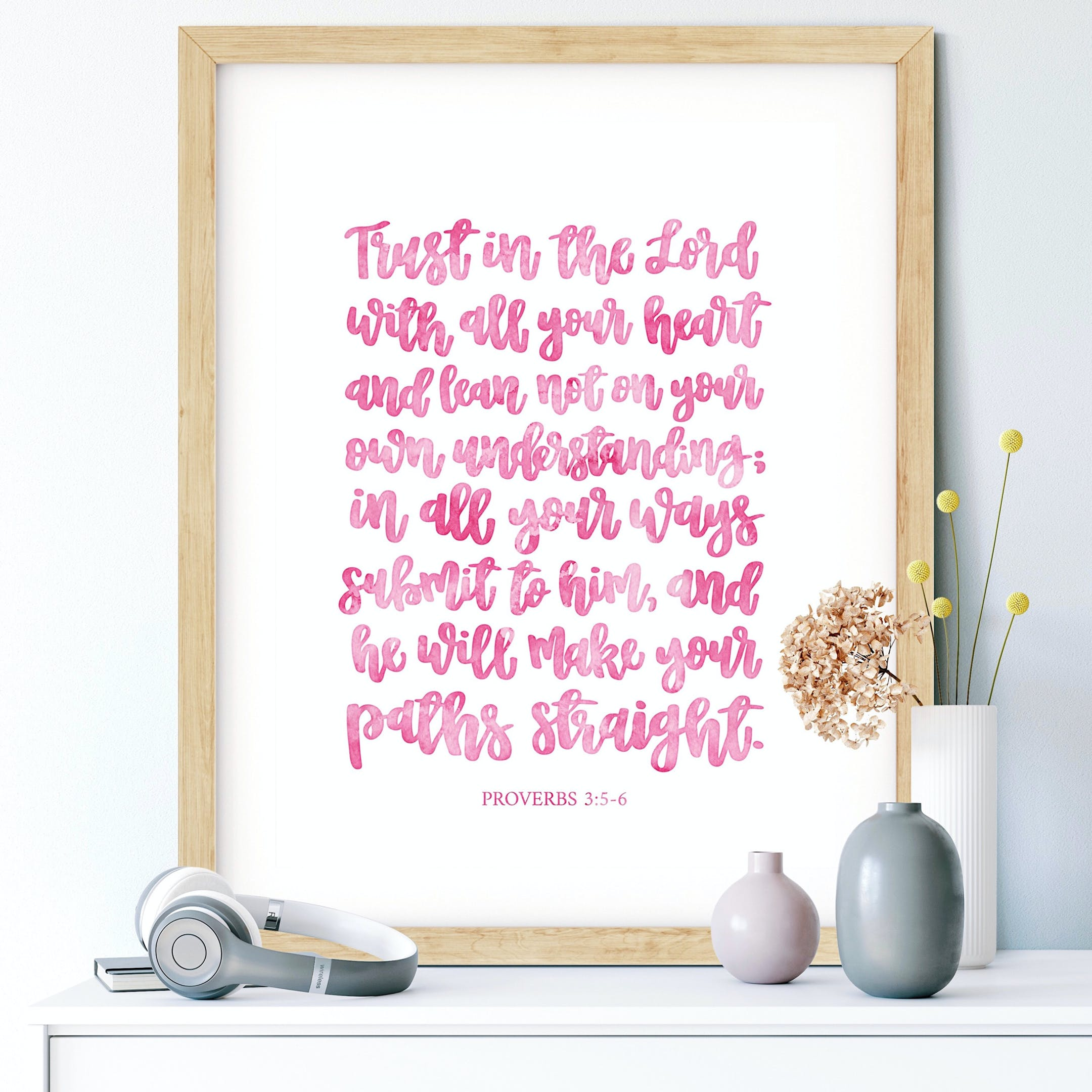 Pink Trust In The Lord Calligraphy Print - Proverbs 3:5-6 - Izzy & Pop