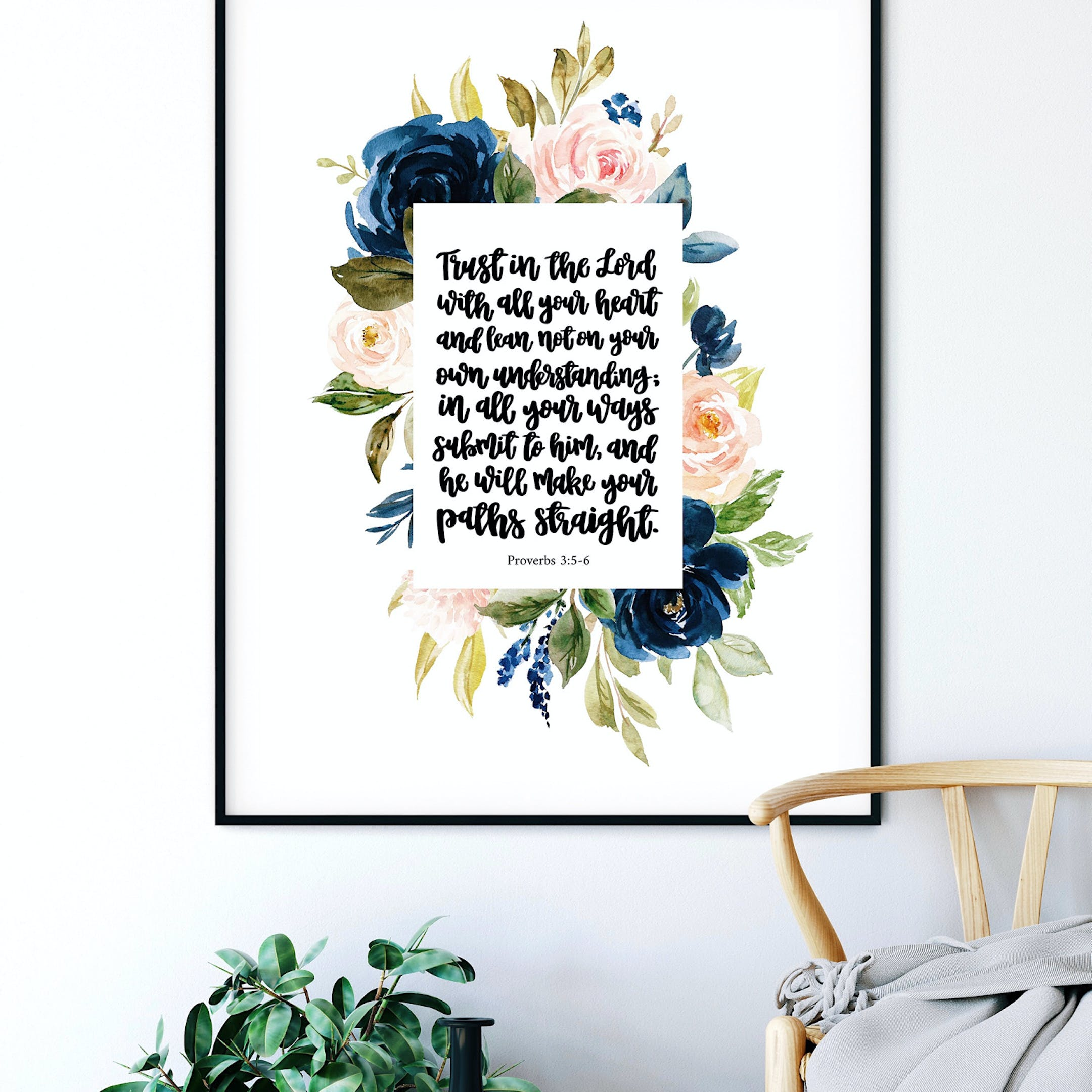 Proverbs 3:5-6 Floral Print - Trust In The Lord - Izzy & Pop