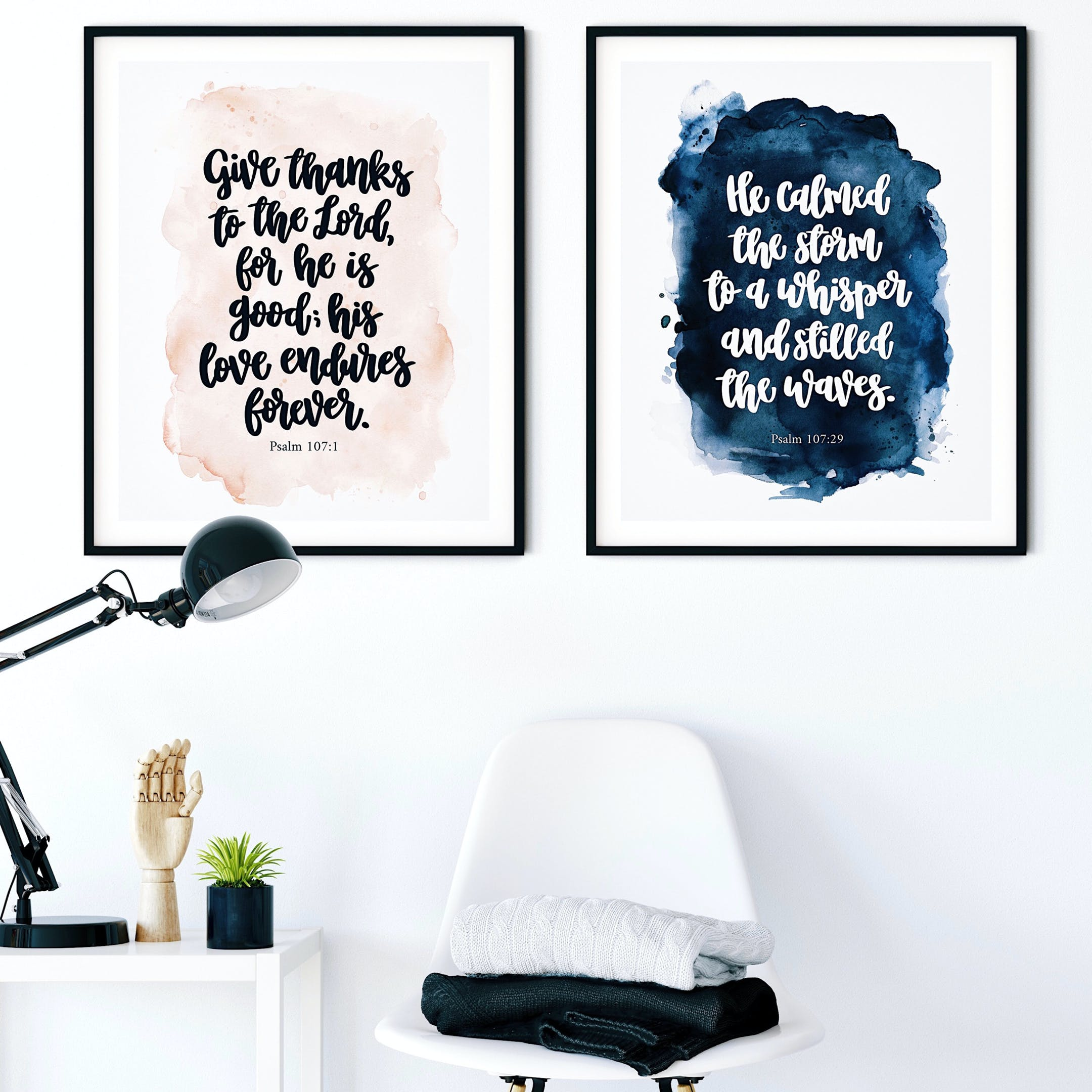 Psalm 107 Print Set - Give Thanks To The Lord And He Calmed The Storm - Izzy & Pop