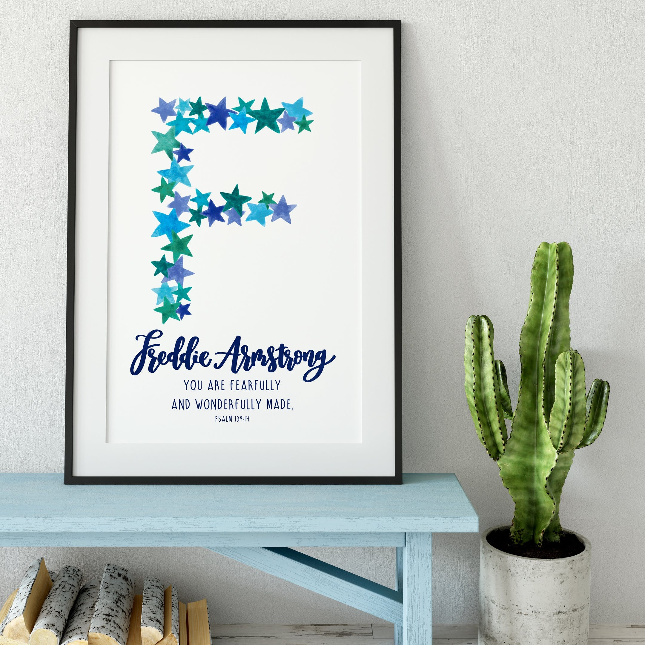 Psalm 139:14 Personalised Print - Baby Boy Name - Izzy and Pop