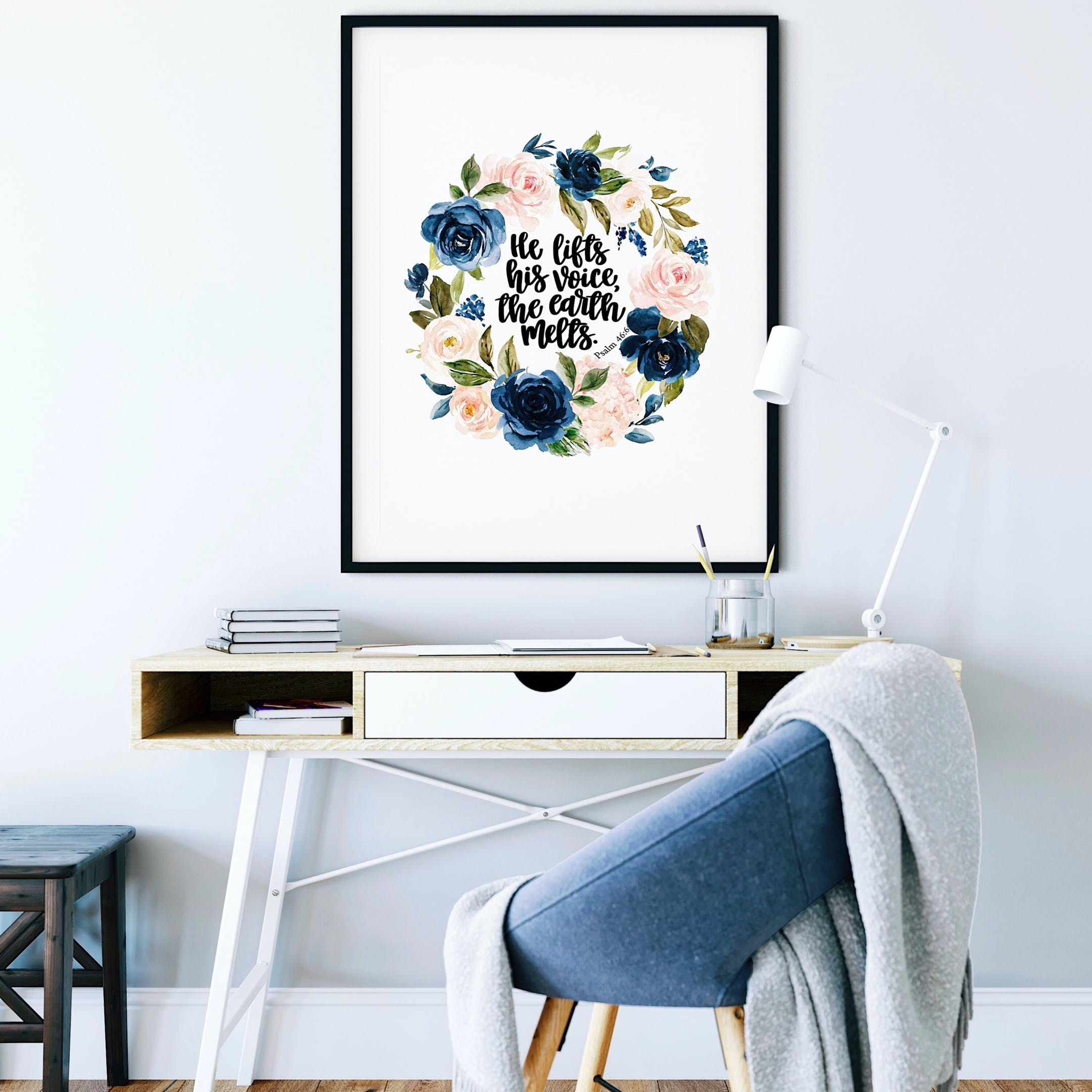 Psalm 46:6 Print - He Lifts His Voice, The Earth Melts - Izzy & Pop