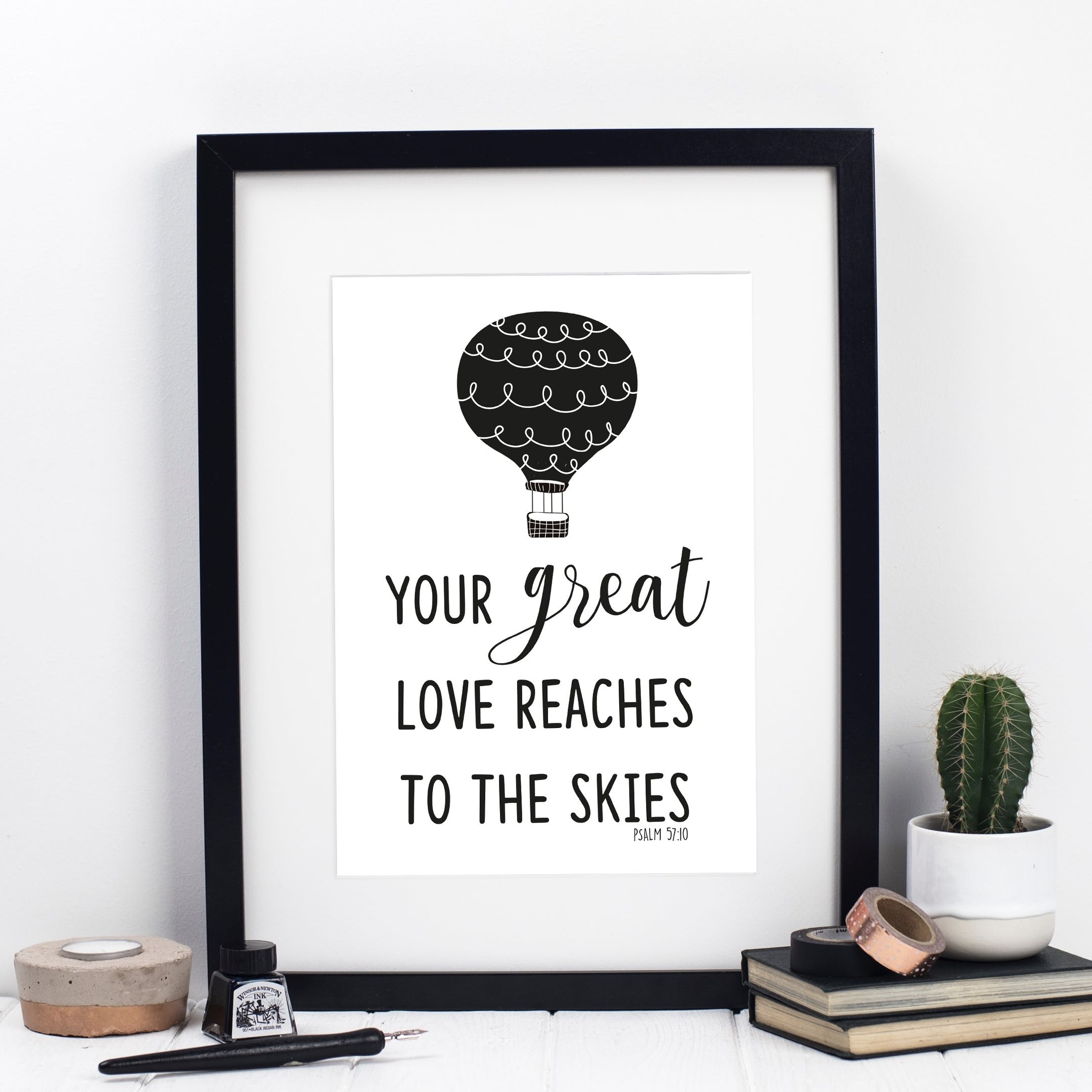 Psalm 57:10 Print - Your Great Love Reaches To The Skies - Izzy and Pop