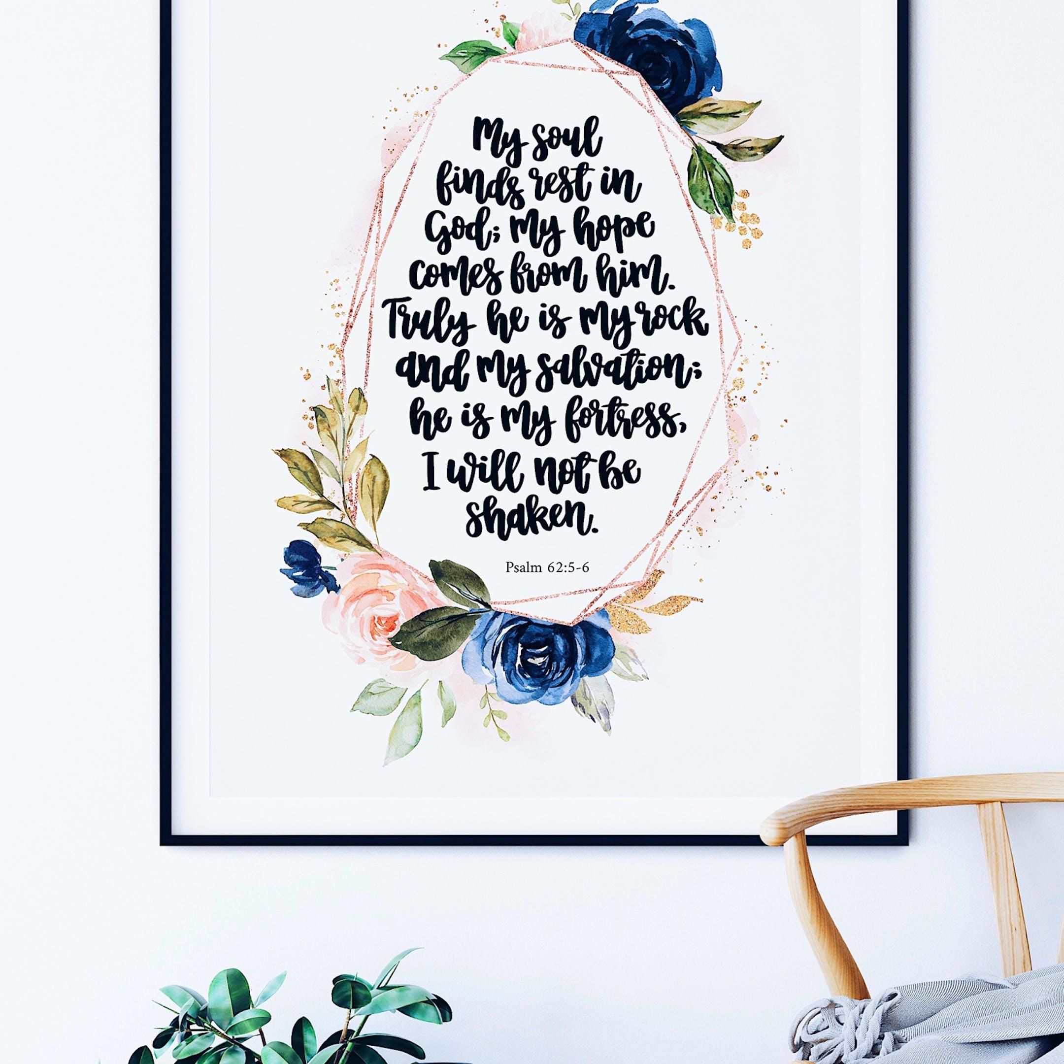 Psalm 62:5-6 Rose Gold Print - Izzy & Pop