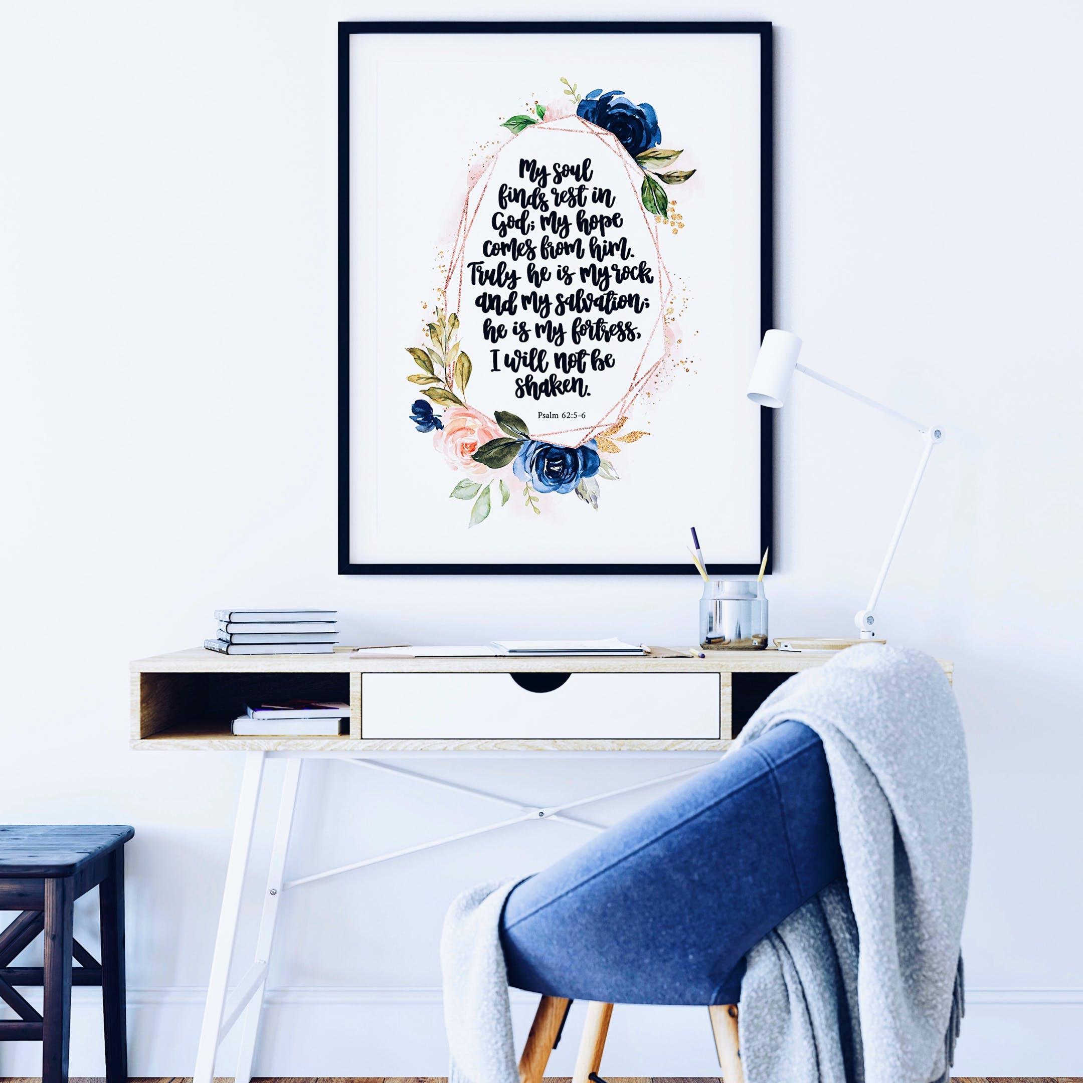 Psalm 62:5-6 Rose Gold Print - My Soul Finds Rest In God; My Hope Comes From Him - Izzy & Pop