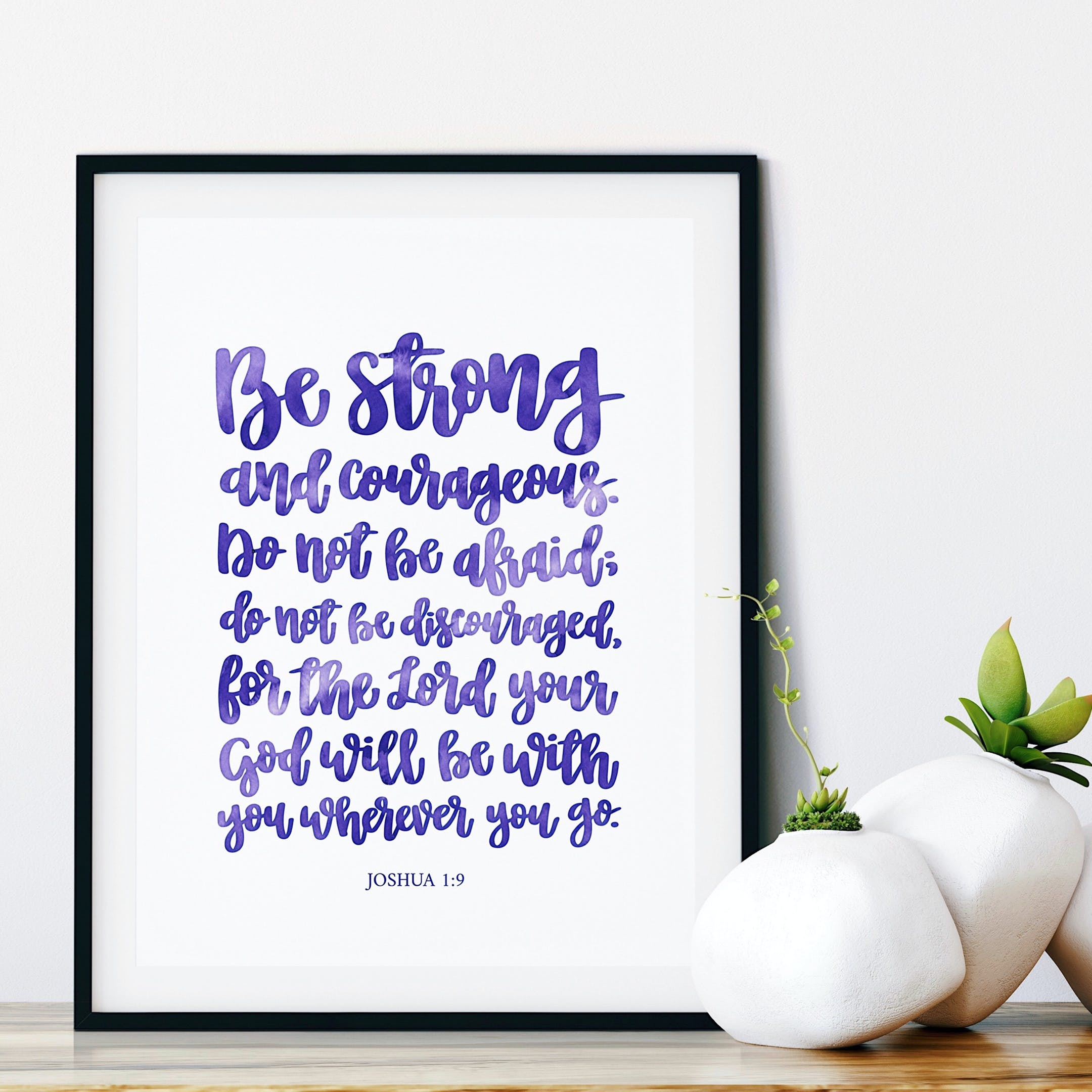 Purple Be Strong And Courageous Calligraphy Print - Joshua 1:9 - Izzy & Pop
