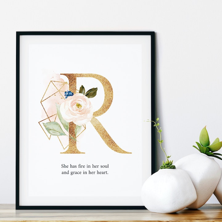 R She Has Fire In Her Soul And Grace In Her Heart Personalised Print - Izzy & Pop