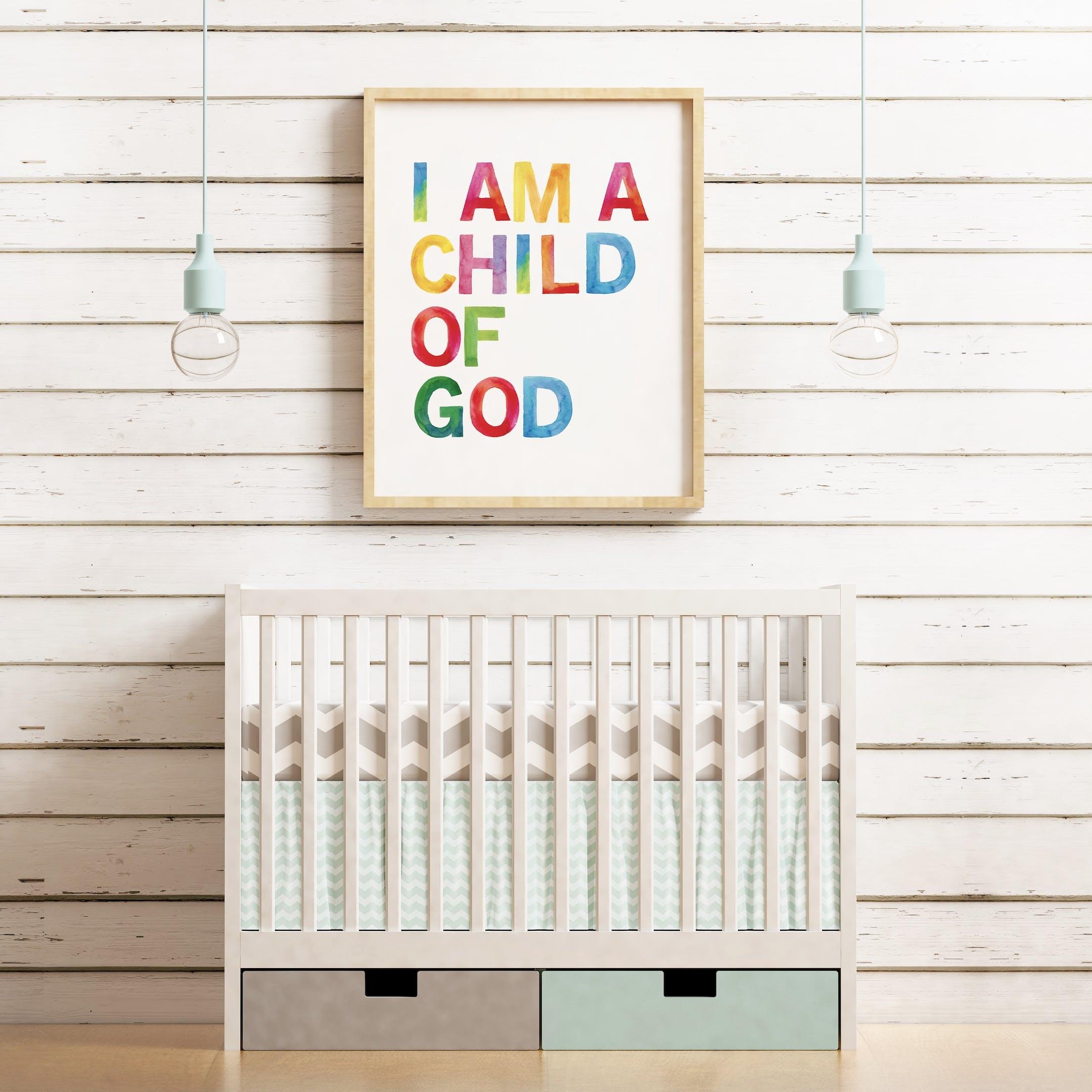 Rainbow Nursery Print I Am A Child of God - Izzy and Pop