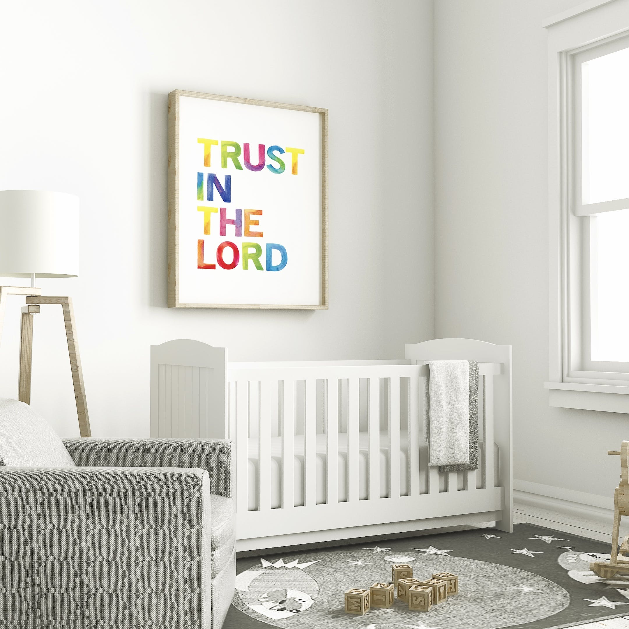 Rainbow Nursery Print - Trust in the Lord - Izzy and Pop