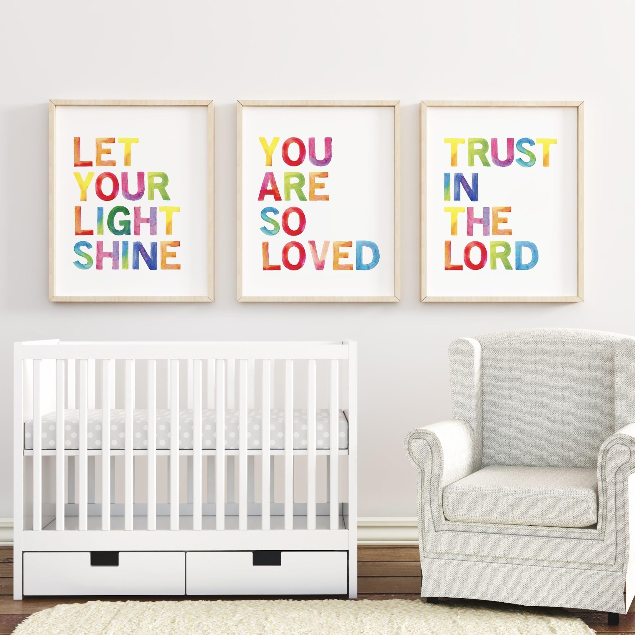 Rainbow Verse Nursery Print Set - Izzy and Pop