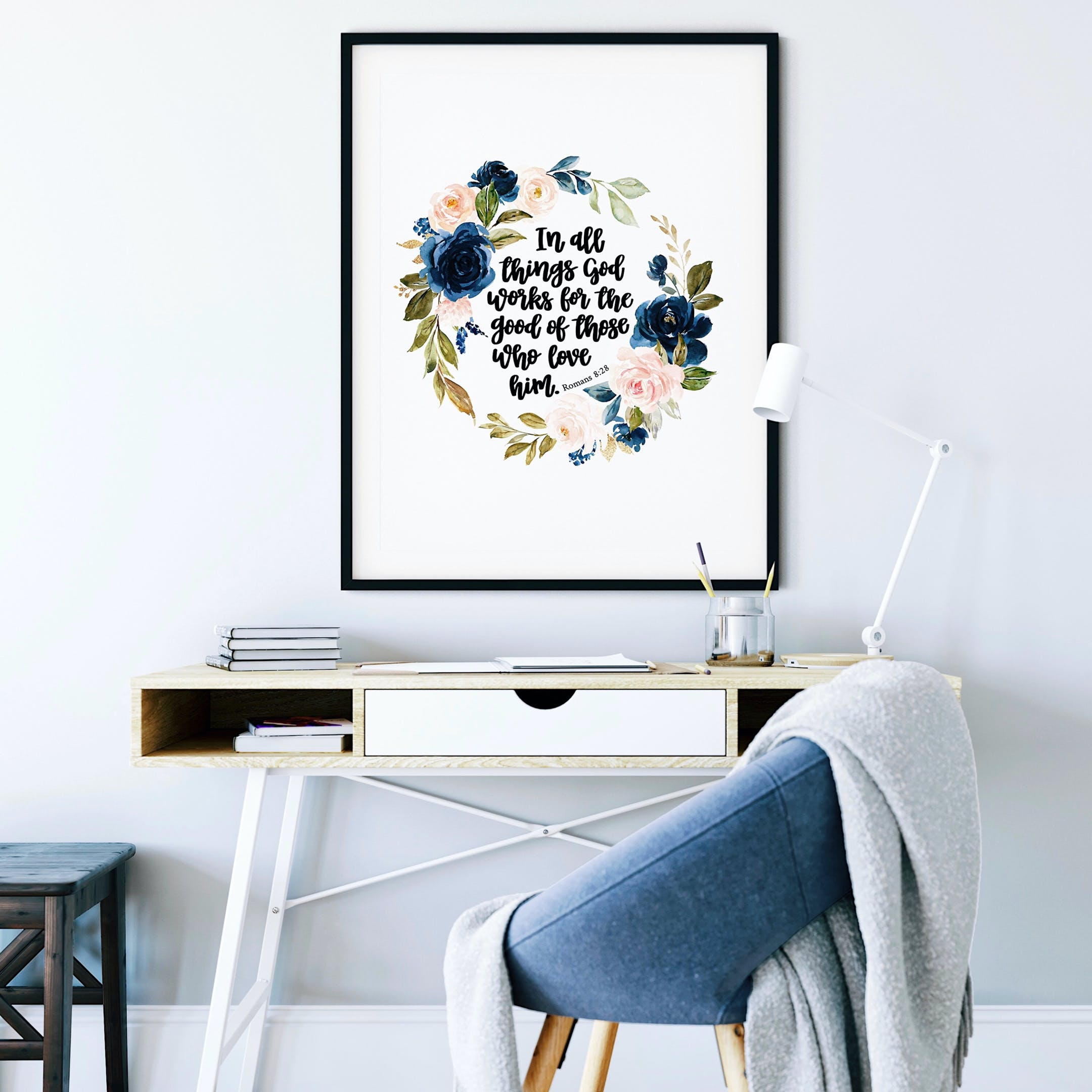 Romans 8:28 Floral Print - In All Things God Works For The Good Of Those Who Love Him - Izzy & Pop
