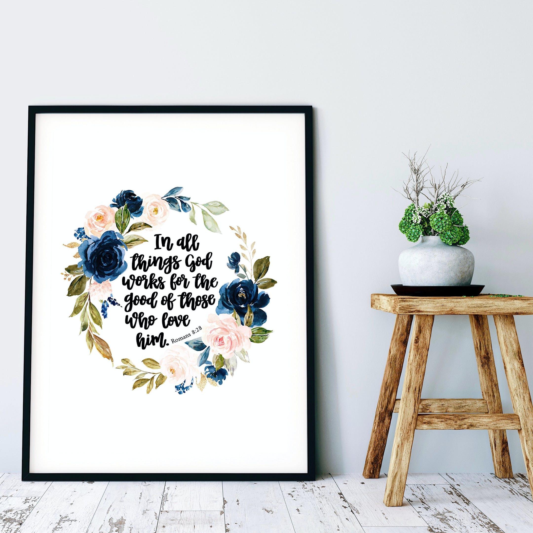 Romans 8:28 Floral Print - Izzy & Pop