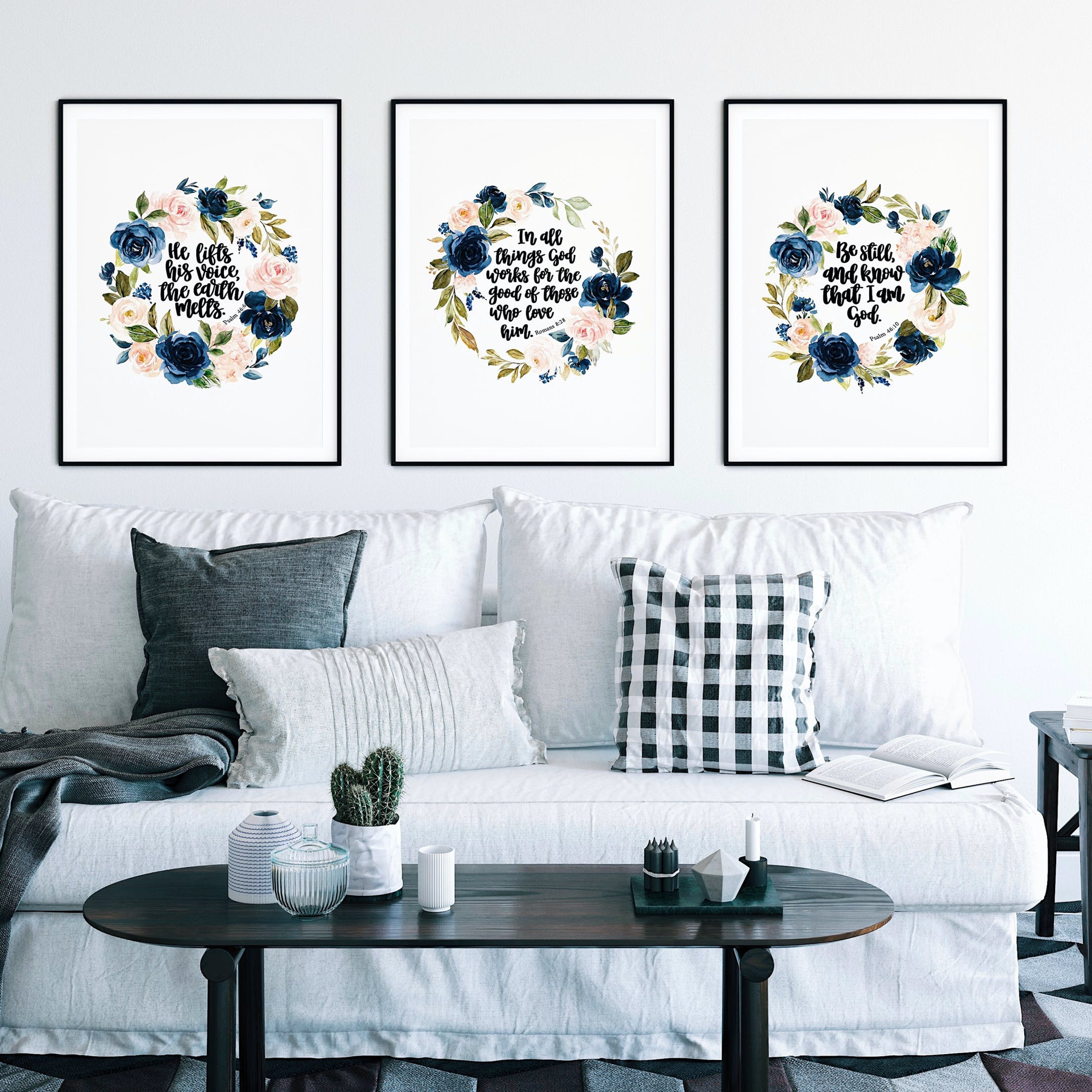 Set Of 3 Floral Watercolour Bible Verse Prints - Izzy & Pop