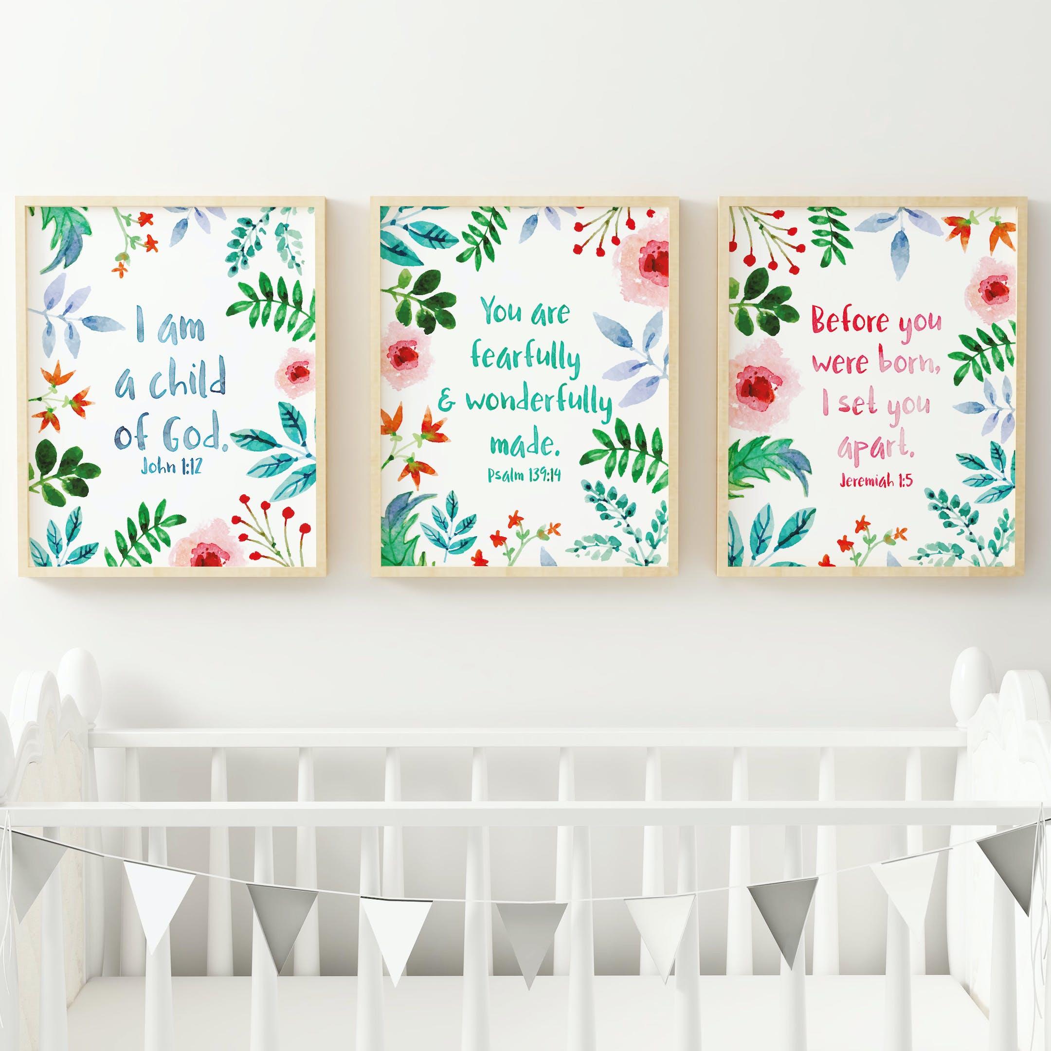 Set of 3 Nursery Bible Verse Prints - Izzy and Pop