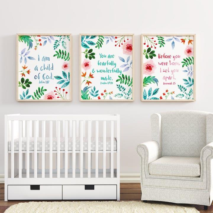 Set of 3 Nursery Prints - Bible Verses - Izzy and Pop