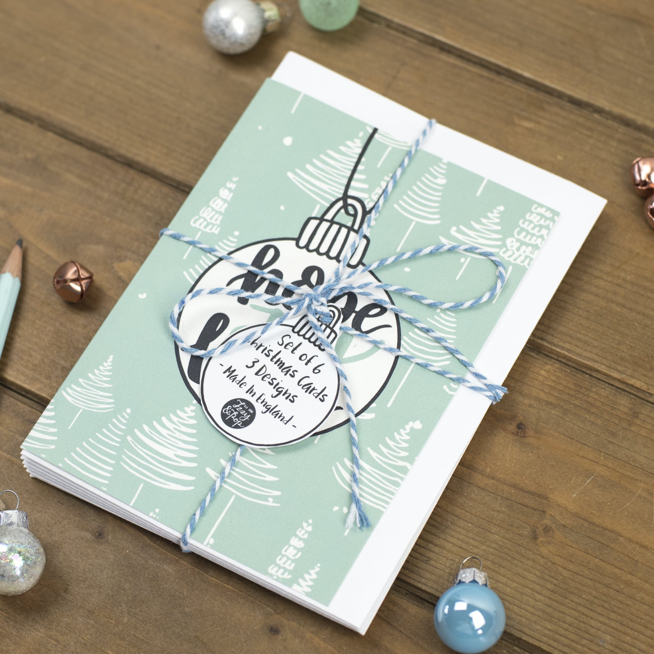 Set of Christmas Cards - Hope Joy Love Baubles - Izzy and Pop