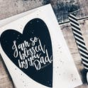 So Blessed By You Dad Black Heart Card - Izzy and Pop