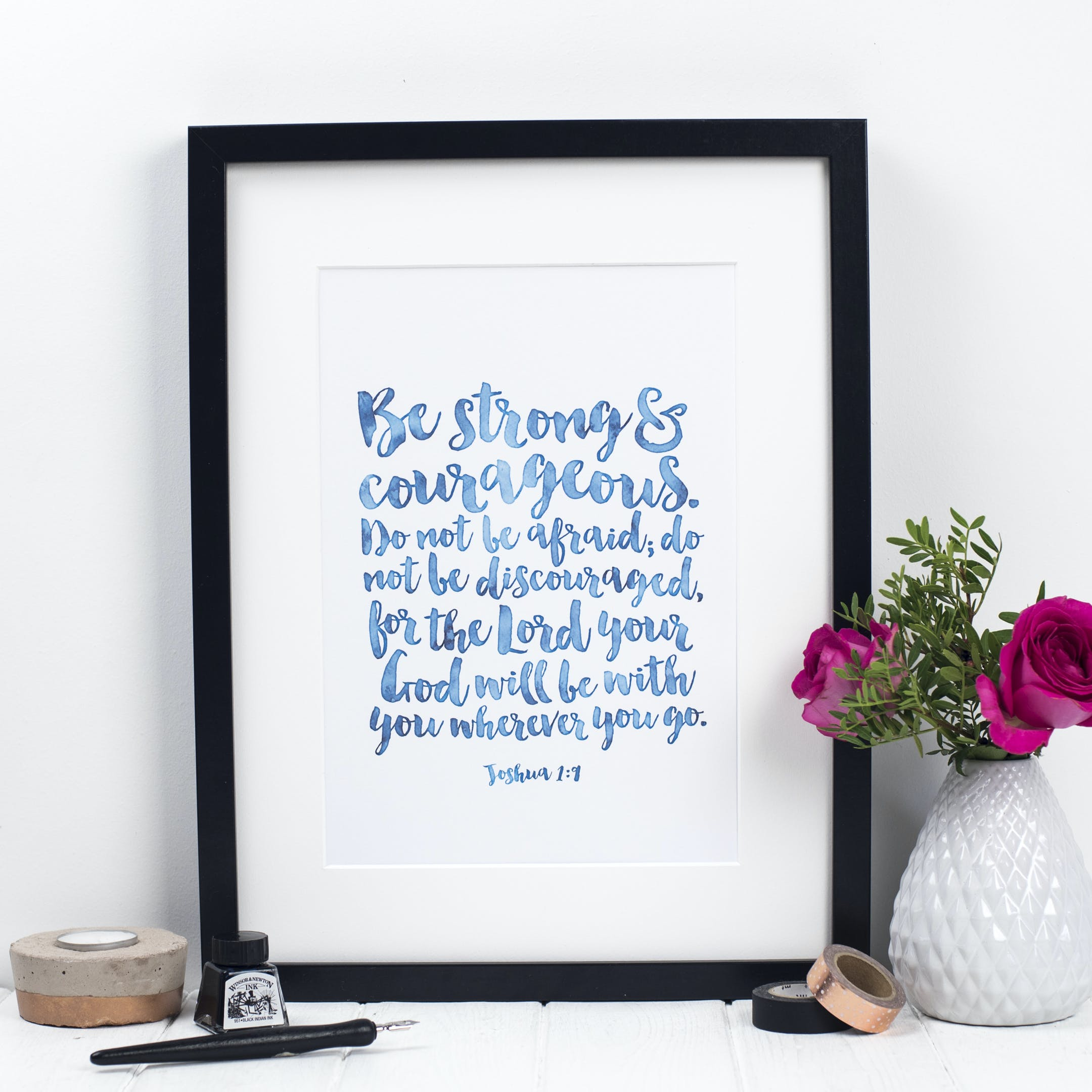 Teal Be Strong And Courageous Print - Joshua 1:9 - Izzy and Pop