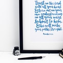 Teal Trust In The Lord Print - Proverbs 3:5-6 - Izzy and Pop