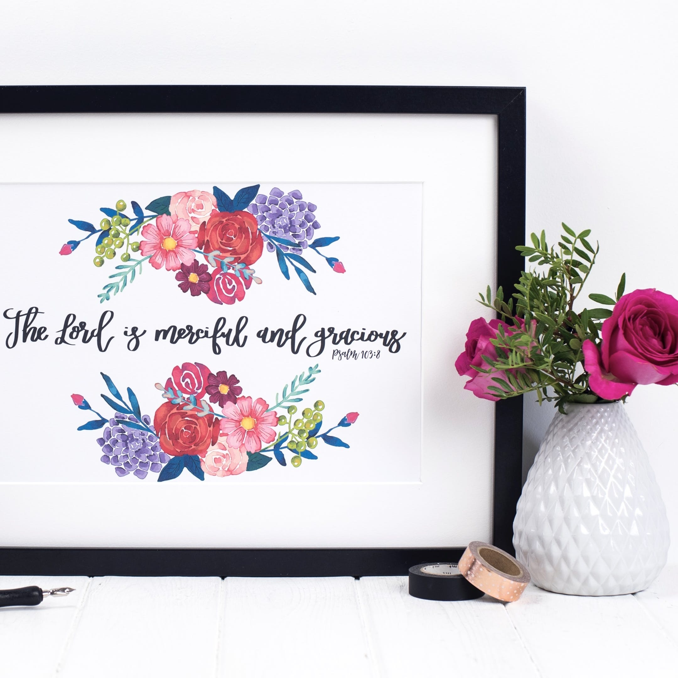 The Lord Is Merciful And Gracious - Psalm 103:8 Floral Print - Izzy and Pop