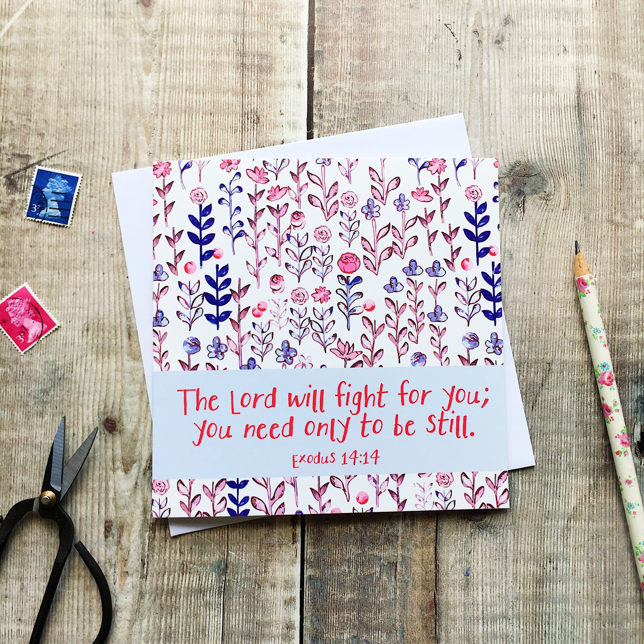 The Lord Will Fight For You, You Need Only To Be Still Card - Exodus 14:14 - Izzy and Pop