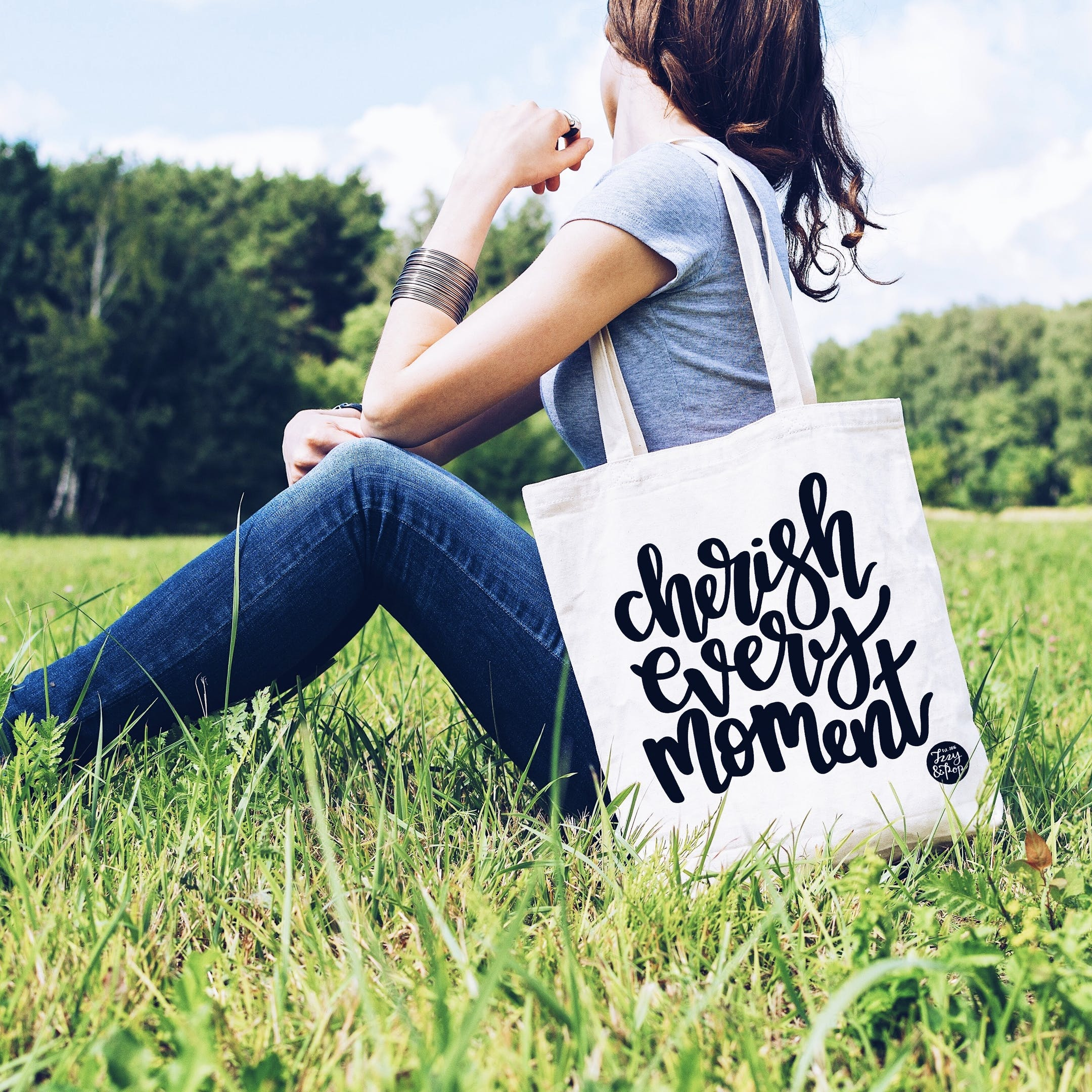 Tote Bag - White - Cherish Every Moment - Izzy and Pop