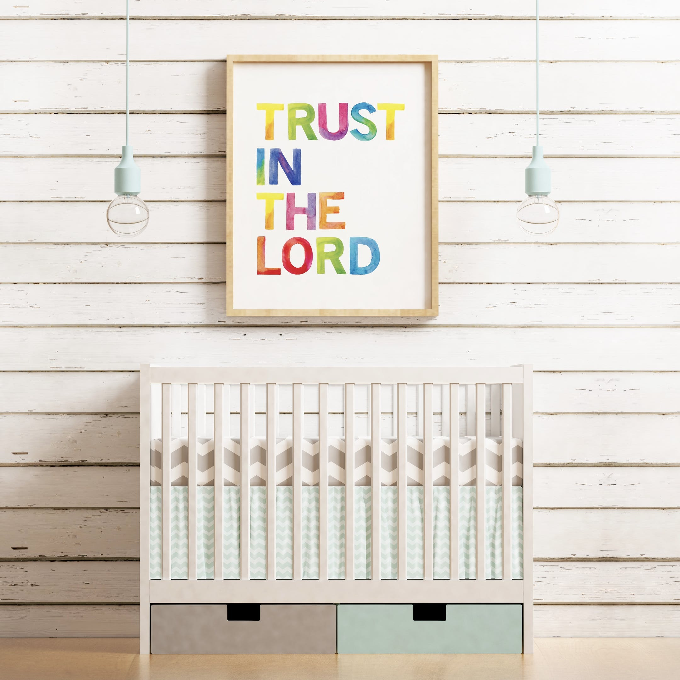 Trust In the Lord Nursery Rainbow Print - Izzy and Pop