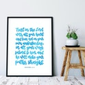 Turquoise Trust In The Lord Calligraphy Print - Proverbs 3:5-6 - Izzy & Pop